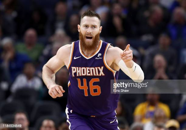Aron Baynes of the Phoenix Suns reacts after making a basket against the Golden State Warriors at Chase Center on October 30 2019 in San Francisco...