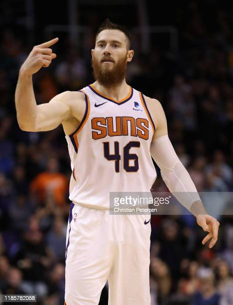 Aron Baynes of the Phoenix Suns reacts during the second half of the NBA game against the Philadelphia 76ers at Talking Stick Resort Arena on...