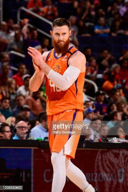 Aron Baynes of the Phoenix Suns reacts to a play against the Portland Trail Blazers on March 6 2020 at Talking Stick Resort Arena in Phoenix Arizona...