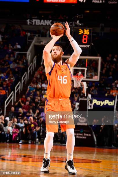 Aron Baynes of the Phoenix Suns shoots the ball against the Detroit Pistons on February 28 2020 at Talking Stick Resort Arena in Phoenix Arizona NOTE...