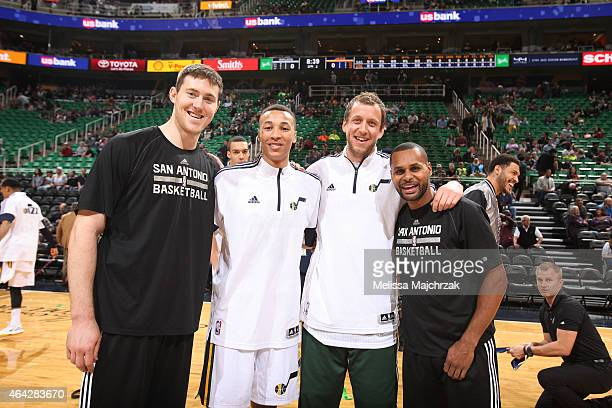 Aron Baynes of the San Antonio Spurs Dante Exum of the Utah Jazz Joe Ingles of the Utah Jazz and Patty Mills of the San Antonio Spurs pose before the...