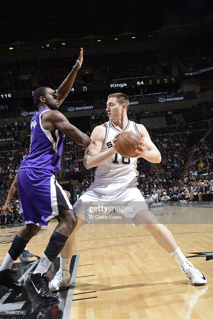 Aron Baynes #16 of the San Antonio Spurs looks to drive to the basket against the Sacramento Kings on March 1, 2013 at the AT&T Center in San Antonio, Texas.