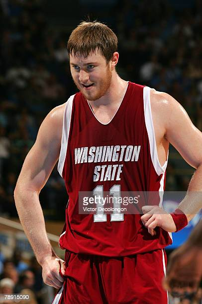 Aron Baynes of the Washington State University Cougars reacts after shooting an air ball on his free throw during the second half of their NCAA Pac10...