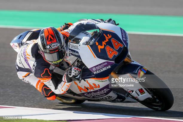 Aron Canet of Aspar Team in action during Fridays free practice session of QNB Qatar Motorcycle Grand Prix held on March 06 at Local International...