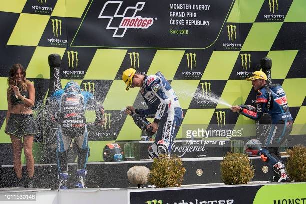 Aron Canet of Spain and Estrella Galicia 0 Fabio Di Giannantonio of Italy and Del Conca Gresini Moto3 and Jakub Kornfeil of Czech Republic and...