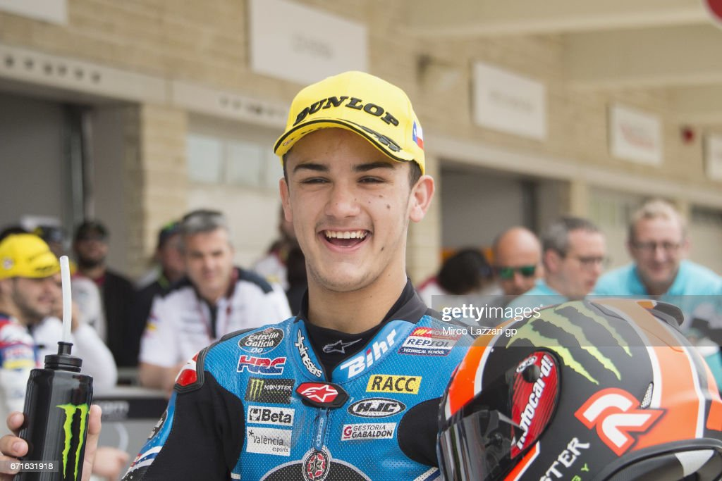 Aron Canet of Spain and Estrella Galicia 0,0 celebrates the Moto3 pole position at the end of the qualifying practice during the qualifying practice during the MotoGp Red Bull U.S. Grand Prix of The Americas - Qualifying at Circuit of The Americas on April 22, 2017 in Austin, Texas.