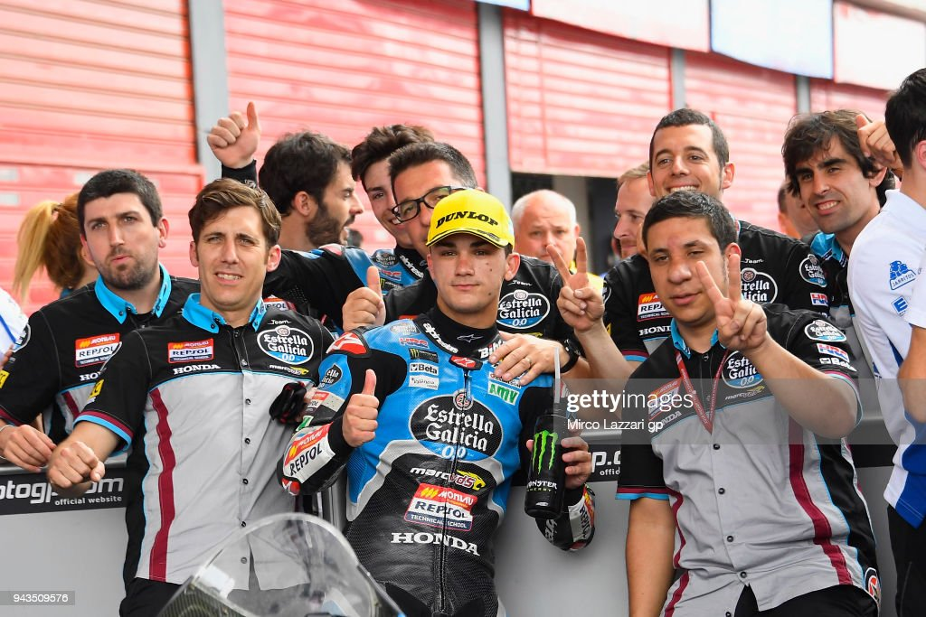 Aron Canet of Spain and Estrella Galicia 0,0 Honda celebrates with team the second place at the end of the Moto3 race during the MotoGp of Argentina - Race on April 8, 2018 in Rio Hondo, Argentina.