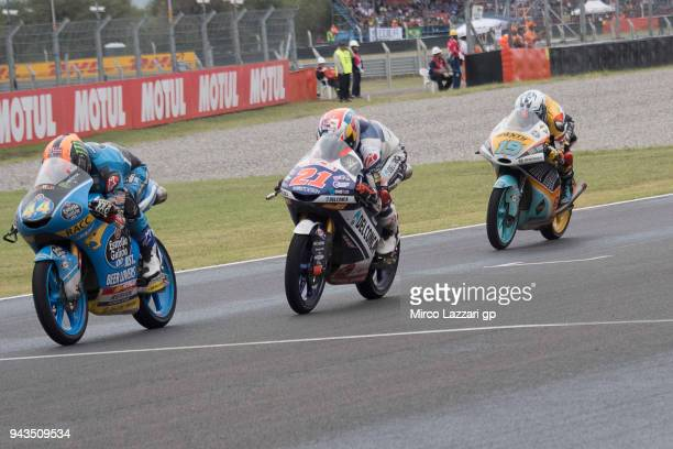 Aron Canet of Spain and Estrella Galicia 00 Honda leads the field during the Moto3 race during the MotoGp of Argentina Race on April 8 2018 in Rio...
