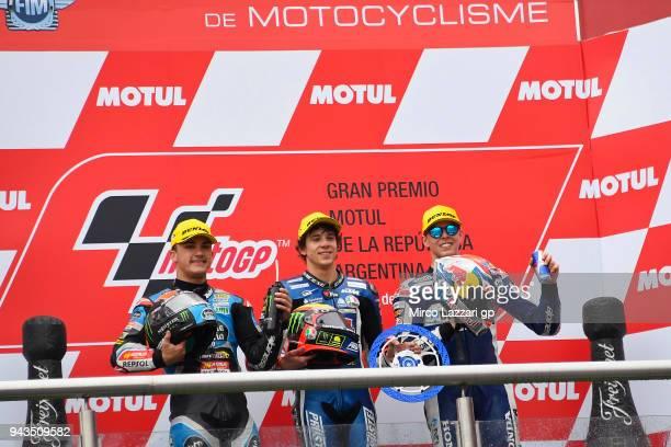 Aron Canet of Spain and Estrella Galicia 00 Honda Marco Bezzecchi of Italy and Pruestel GP KTM and Fabio Di Giannantonio of Italy and Del Conca...