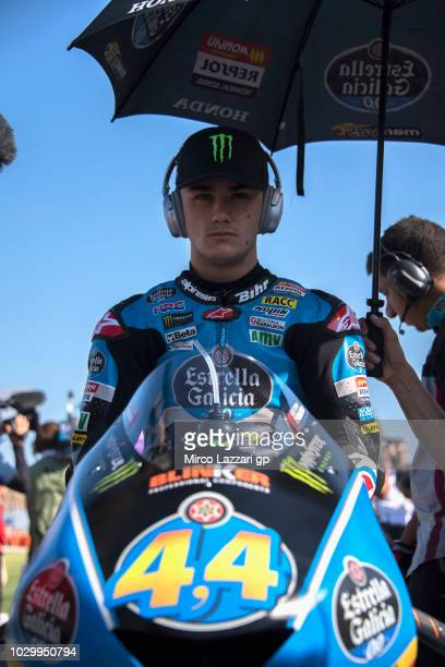 Aron Canet of Spain and Estrella Galicia 00 prepares to start on the grid during the Moto3 race during the MotoGP of San Marino Race at Misano World...