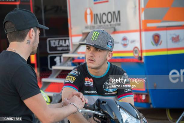 Aron Canet of Spain and Estrella Galicia 00 speaks in paddock during the MotoGP of Aragon Previews at Motorland Aragon Circuit on September 20 2018...
