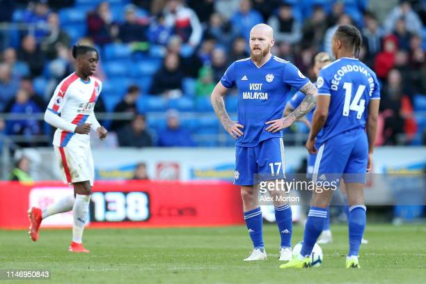Aron Gunnarsson and Bobby Reid of Cardiff City look dejected after conceding during the Premier League match between Cardiff City and Crystal Palace...