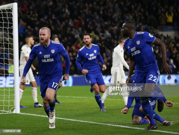 Aron Gunnarsson celebrates scoring the first goal for Cardiff City during the Premier League match between Cardiff City and Wolverhampton Wanderers...