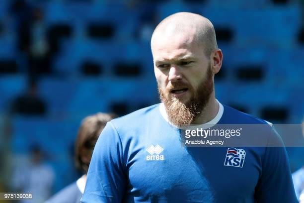 Aron Gunnarsson is seen during the Iceland national football team training session at the Spartak Stadium ahead of the 2018 FIFA World Cup in Moscow...