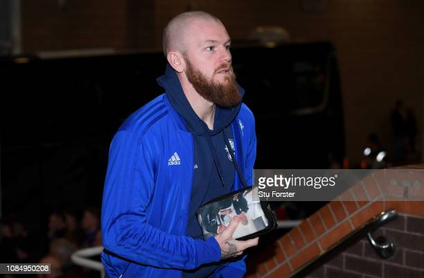 Aron Gunnarsson of Cardiff City arrives at the stadium prior to the Premier League match between Newcastle United and Cardiff City at St James Park...