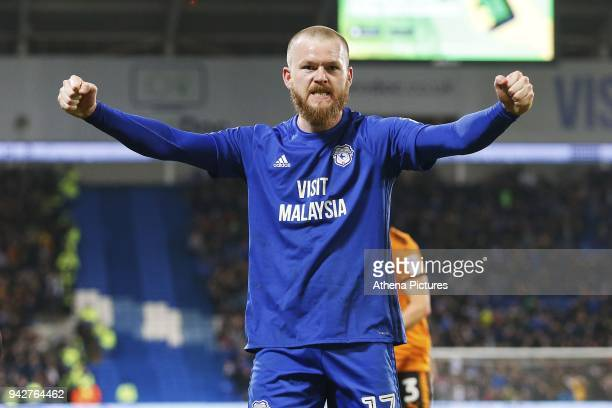 Aron Gunnarsson of Cardiff City celebrates after a second penalty is awarded during the Sky Bet Championship match between Cardiff City and...