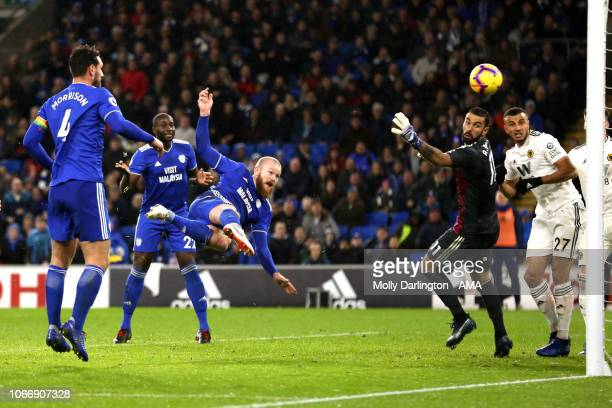 Aron Gunnarsson of Cardiff City scores a goal to make it 11 during the Premier League match between Cardiff City and Wolverhampton Wanderers at...