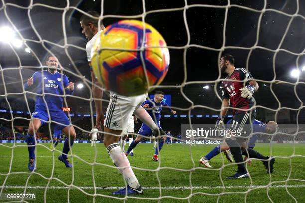 Aron Gunnarsson of Cardiff City scores his sides first goal during the Premier League match between Cardiff City and Wolverhampton Wanderers at...