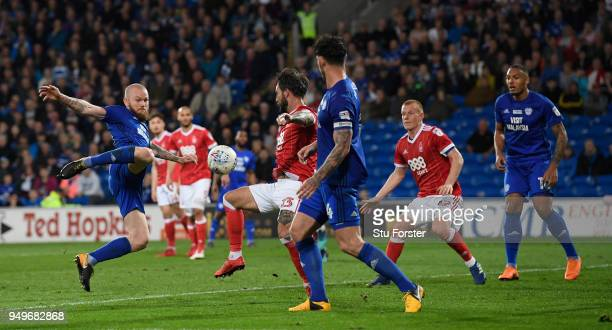 Aron Gunnarsson of Cardiff fires in the second Cardiff goal during the Sky Bet Championship match between Cardiff City and Nottingham Forest at...