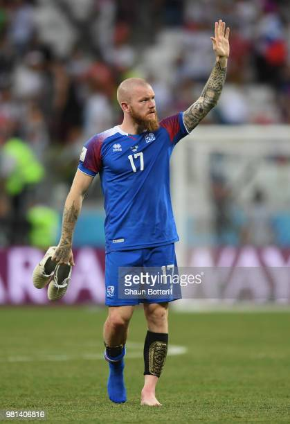 Aron Gunnarsson of Iceland acknowledges the fans at the end of the 2018 FIFA World Cup Russia group D match between Nigeria and Iceland at Volgograd...