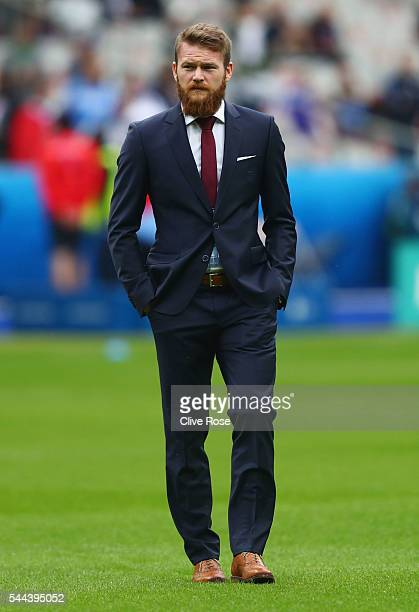 Aron Gunnarsson of Iceland inspects the pitch prior to the UEFA EURO 2016 quarter final match between France and Iceland at Stade de France on July 3...
