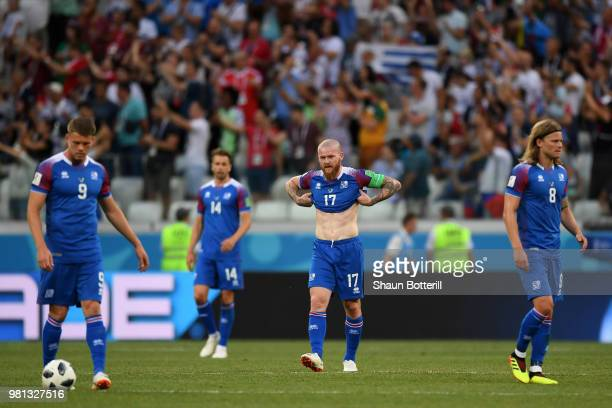 Aron Gunnarsson of Iceland look dejected folloiwing Nigeria's second goal the 2018 FIFA World Cup Russia group D match between Nigeria and Iceland at...