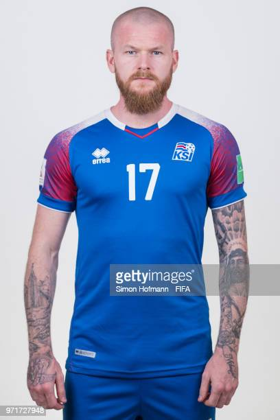 Aron Gunnarsson of Iceland poses during the official FIFA World Cup 2018 portrait session at Resort Centre Nadezhda on June 11 2018 in Gelendzhik...
