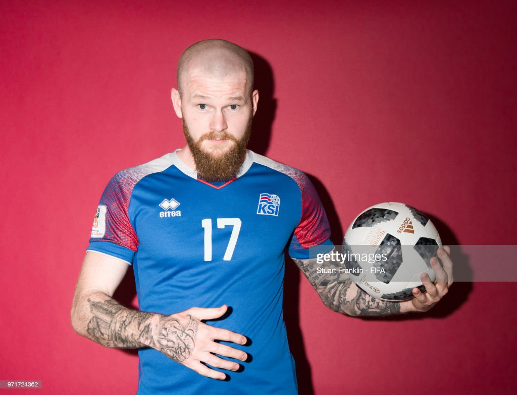 Aron Gunnarsson of Iceland poses for a picture during the official FIFA World Cup 2018 portrait session at on June 11, 2018 in Gelendzhik, Russia.