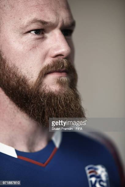 Aron Gunnarsson of Iceland poses for a picture during the official FIFA World Cup 2018 portrait session at on June 11 2018 in Gelendzhik Russia