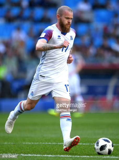 Aron Gunnarsson of Icelandin action during the 2018 FIFA World Cup Russia group D match between Argentina and Iceland at Spartak Stadium on June 16...