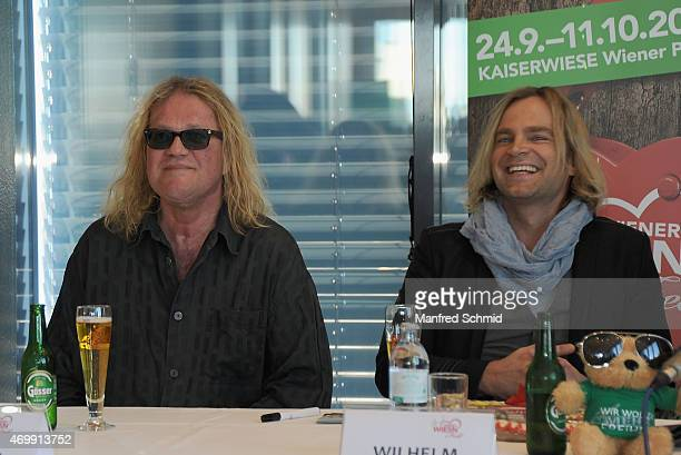 Aron Strobel and Tim Wilhelm of Muenchener Freiheit attend the Vienna Wiesn 2015 press conference on April 16, 2015 in Vienna, Austria.