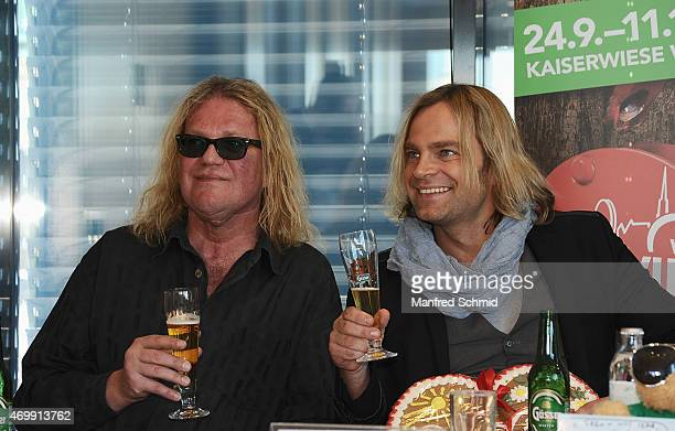 Aron Strobel and Tim Wilhelm of Muenchener Freiheit attend the Vienna Wiesn 2015 press conference on April 16 2015 in Vienna Austria