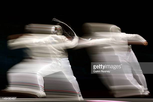 Aron Szilagyi of Hungary competes against Nikolay Kovalev of Russia during their Men's Sabre Individual semifinal match on Day 2 of the London 2012...
