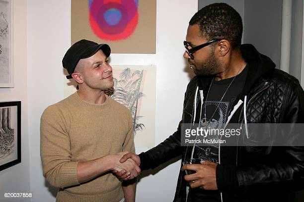 Aron Wahl and Duane Bruton attend PAPERCUT Inaugural Exhibition to Celebrate the Print Making Process at Heist Gallery on December 13 2008 in New...