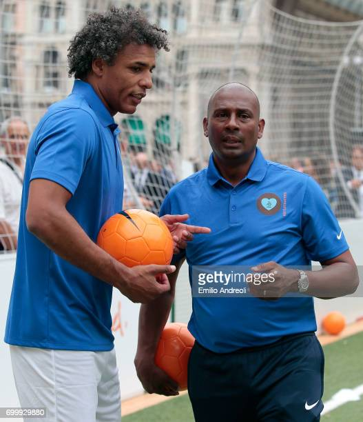 Aron Winter and Pierre van Hooijdonk attend a football clinic for integration organized by Italian Football Federation on June 22 2017 in Milan Italy