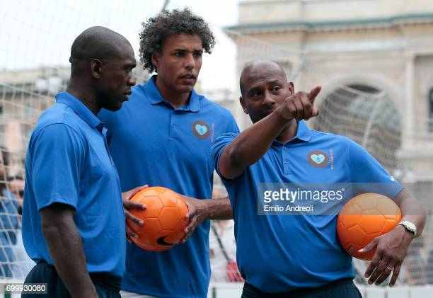 Aron Winter Pierre van Hooijdonk and Clarence Seedorf attend a football clinic for integration organized by Italian Football Federation on June 22...
