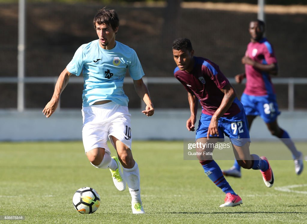 FC Arouca midfielder Aleks Palocevic from Serbia with CD Cova da Piedade forward Dieguinho from Brazil in action during the Segunda Liga match between CD Cova da Piedade and FC Arouca at Estadio Municipal Jose Martins Vieira on August 19, 2017 in Almada, Portugal.