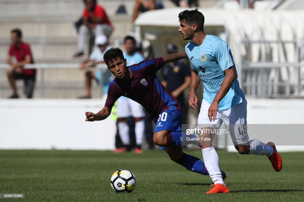 FC Arouca midfielder Bruno Alves from Portugal with CD Cova da Piedade midfielder Robson from Brazil in action during the Segunda Liga match between CD Cova da Piedade and FC Arouca at Estadio Municipal Jose Martins Vieira on August 19, 2017 in Almada, Portugal.