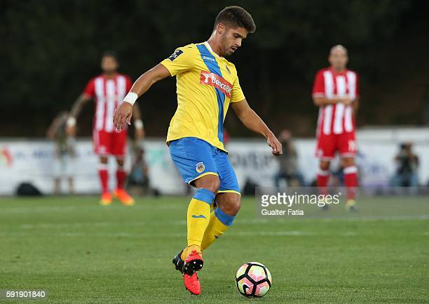 Arouca's defender Hugo Basto in action during the UEFA Europa League match between FC Arouca and Olympiacos FC at Estadio Municipal de Arouca on...