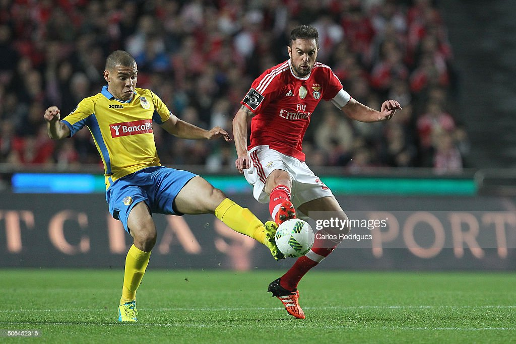 Arouca«s forward Murices vies with Benfica's defender Jardel Vieira during the match between SL Benfica and FC Arouca at Estadio da Luz on January 23, 2016 in Lisbon, Portugal.