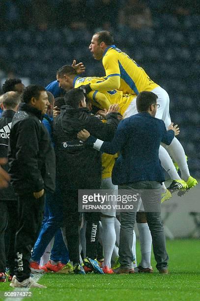 Arouca's Paraguayan forward Walter Gonzalez celebrates a goal during the Portuguese League football match FC Porto vs FC Arouca at the Dragao stadium...
