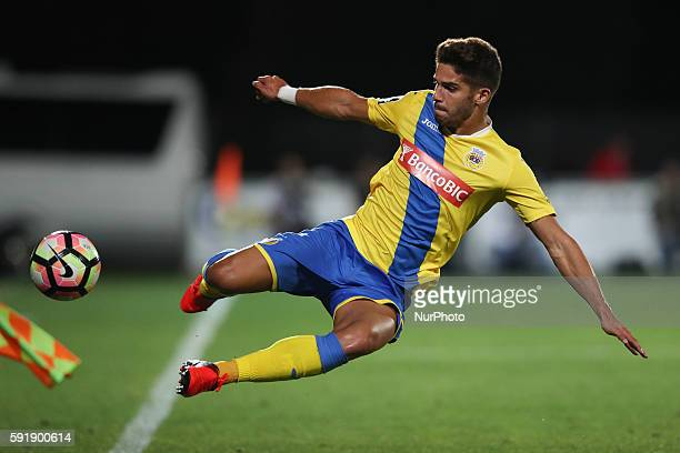 Arouca's Portuguese defender Hugo Bastos in action during the UEFA Europa League 2016/17 match between FC Arouca and FC Olympiacos, at Municipal de...
