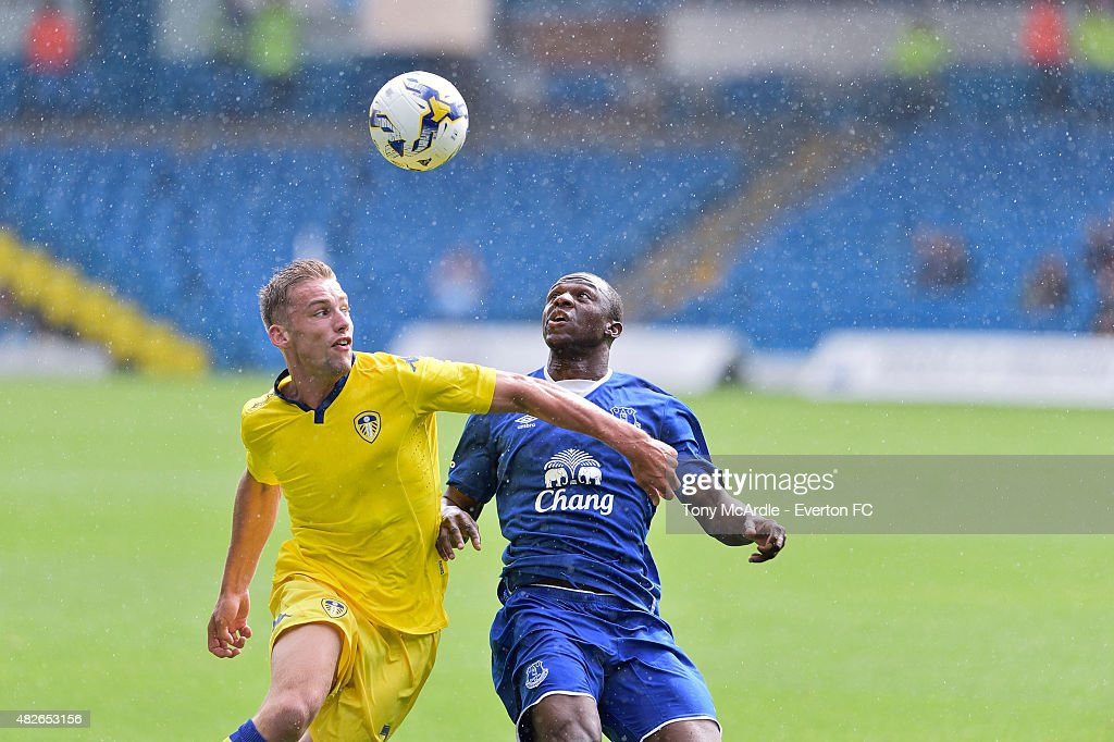 Arouna Kone and Charlie Taylor during the pre-season friendly between Leeds United and Everton at Elland Road on August 1, 2015 in Leeds, England.
