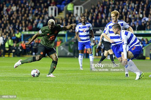 Arouna Kone makes an attempt on goal during the Capital One Cup match between Reading and Everton at Madejski Stadium on September 22, 2015 in...