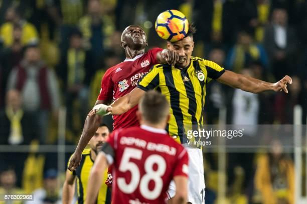 Arouna Kone of Demir Grup Sivasspor Nabil Dirar of Fenerbahce SK during the Turkish Spor Toto Super Lig football match between Fenerbahce and Demir...