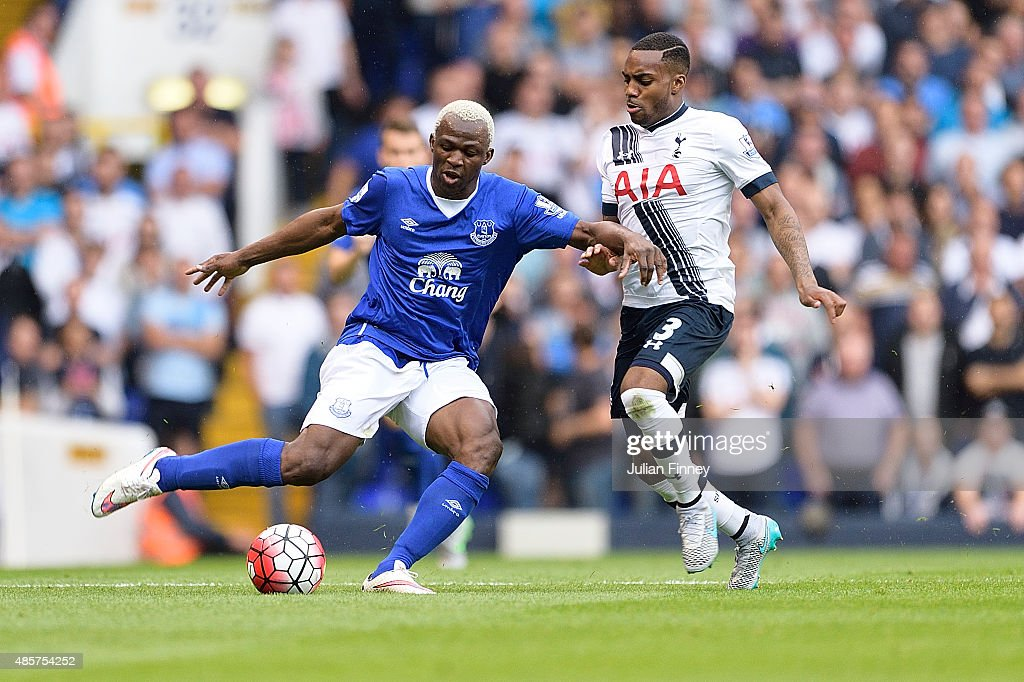 Arouna Kone of Everton and Danny Rose of Tottenham Hotspur during the Barclays Premier League match between Tottenham Hotspur and Everton at White Hart Lane on August 29, 2015 in London, United Kingdom.