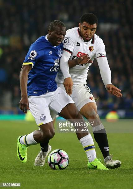 Arouna Kone of Everton and Troy Deeney of Watford during the Premier League match between Everton and Watford at Goodison Park on May 12 2017 in...