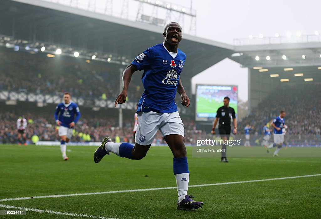 Arouna Kone of Everton celebrates as he scores their fifth goal during the Barclays Premier League match between Everton and Sunderland at Goodison Park on November 1, 2015 in Liverpool, England.