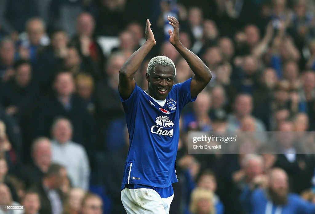 Arouna Kone of Everton celebrates as he scores their sixth goal and completes his hat trick during the Barclays Premier League match between Everton and Sunderland at Goodison Park on November 1, 2015 in Liverpool, England.