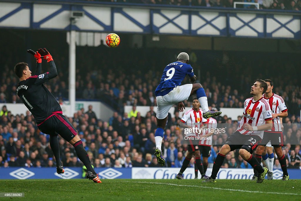 Arouna Kone of Everton heads the ball past goalkeeper Costel Pantilimon of Sunderland to score their sixth goal and completes his hat trick during the Barclays Premier League match between Everton and Sunderland at Goodison Park on November 1, 2015 in Liverpool, England.